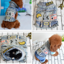 2016 New Explosion Models Teddy Bichon Poodle Pet Dog Clothes  Dog Coat  Dog Jacket Vest Retro Cool Denim Vest Short Paragraph