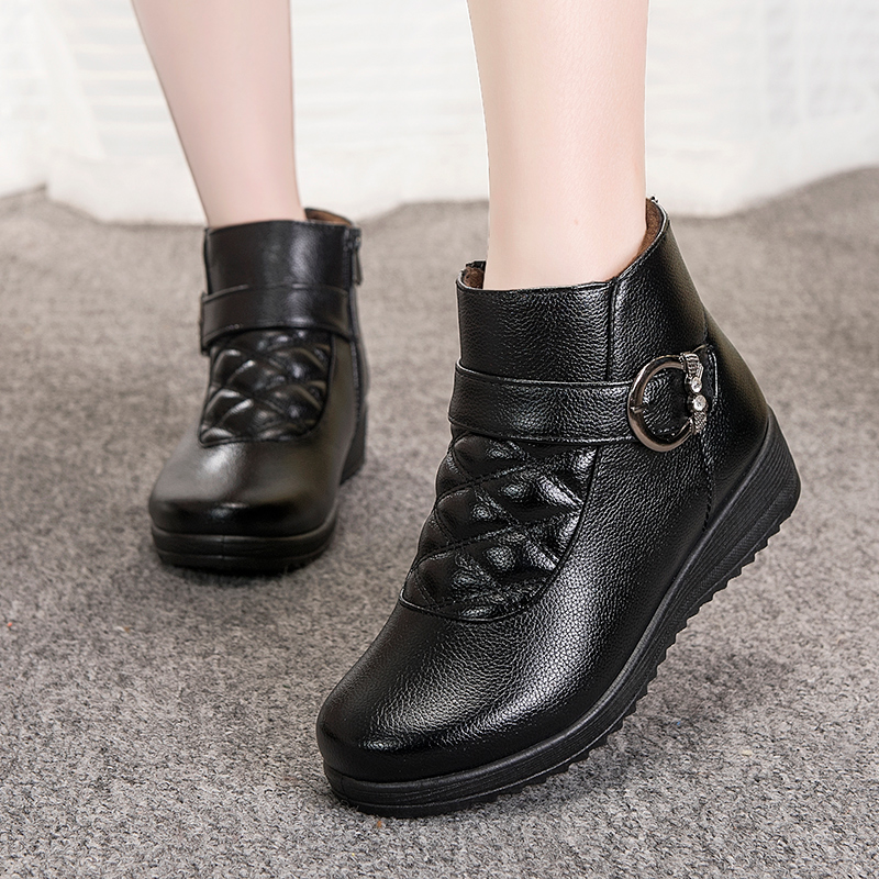 New Arrival Warm Plush Mother Cotton Shoes In The Elderly PU Soft Soles Slide Zipper Round Head Ankle Female Martin Boots Solid<br><br>Aliexpress