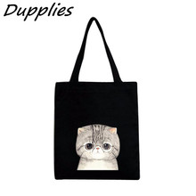 Dupplies Canvas Hangbag Women Lovely Cat Pattern Shoulder Bags Black White Women Shopping Bags Daily Use Female Tote Bag