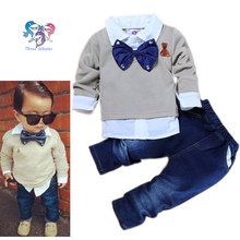 Children Boys Fashion Boutique Clothing Set Bow Tie Toddler Outfits Boys Formal Clothing Gap Baby Boys Suits Sets Gentleman(China)