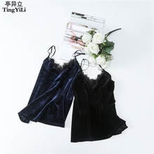 TingYiLi Lace V Neck Women Tops Black Gray Red Green Blue Velvet Top Sexy Ladies Camisole Autumn Winter(China)
