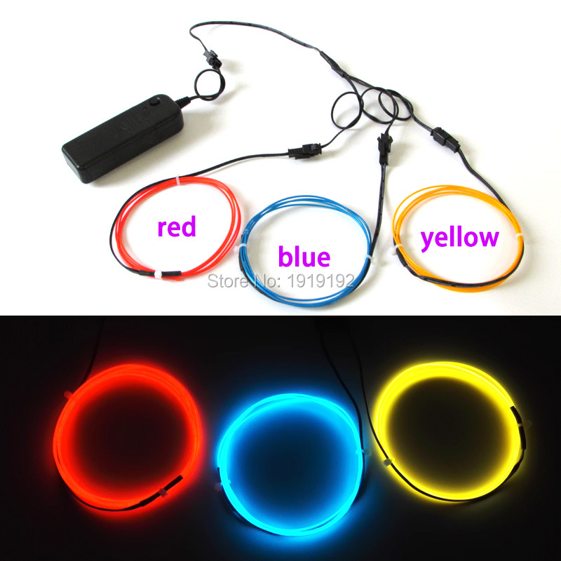 1Meter 3V 3pieces electroluminescent color 1.3mm EL wire Flexible Neon Glow Light EL Cable Rope for Car Party Decorations Light(China (Mainland))