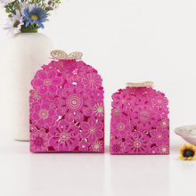 HAOCHU 20Pcs Candy Gift Box Wedding Engagement Party Decoration Hollow European Square Butterfly Flower Favor Box Supplies Guest(China)