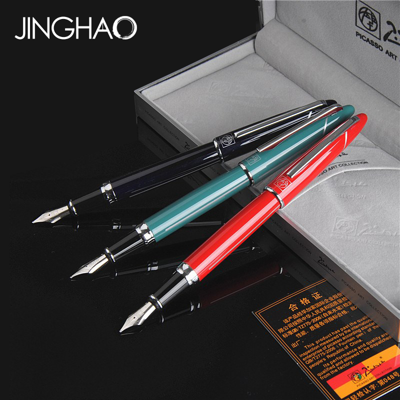 1PC Pimio 919 Silver Clip Fountain Pen Black Red Cyan 0.5mm Iraurita Nib Metal Ink Pens with an Original Box Office Supplies<br>