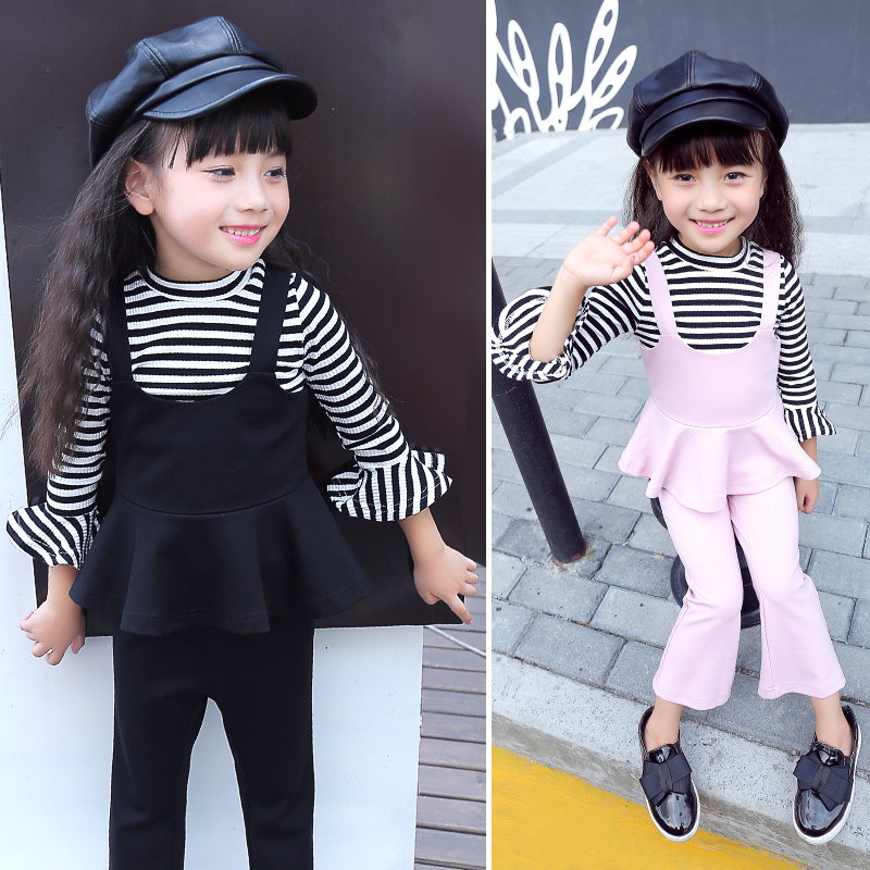 Childrens Clothing Suits Autumn Girls New South Korean Stripe Three-piece Long Sleeve Kids Clothing Sets Black Red Pink<br>