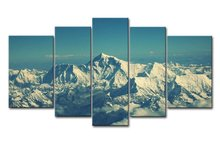 Mount Everest Snow Mountain Blue Sky 5 Pieces Panel Paintings Modern Giclee Artwork Oil For Living Room Decoration On Canvas