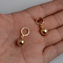 Anniyo 1CM Light Gold Color Bead Earrings for Women's/Girls African Round Ball Earrings Ethiopian Jewelry,Nigeria Gift #045104(China)