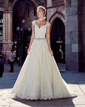 Amdml Embellished Jeweled Belt Embroidery Beading Lace A-Line Wedding Dresses 2017 Open Back Chapel Train Bridal Gowns Plus Size