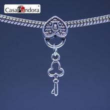 CasaPandora Silver-colored Lock And Key Shape Pendant Fit Bracelet Charm DIY Bead Jewelry Making Pingente Berloque