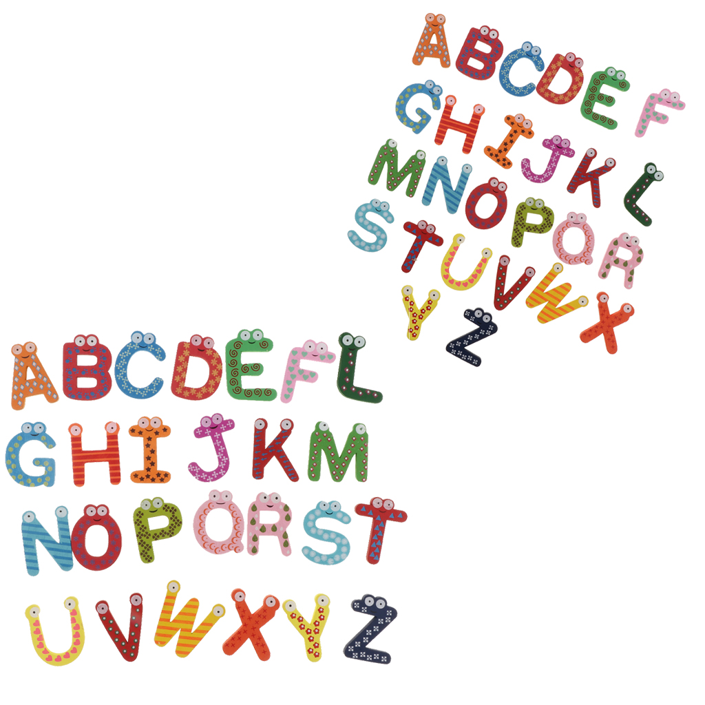 2 Sets Wooden Fridge Magnet Uppercase Capital Letters Alphabet Kids Educational Toy
