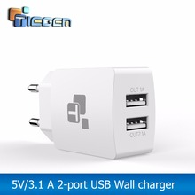 TIEGEM Travel USB Charger Adapter EU Plug Universal 2 Port Wall Portable Mobile Phone Charging Smart Charger for iPhone Tablet(China)