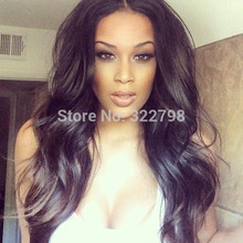 Hot Selling Fashion 130% Density Black Women Brazilian Virgin Human Hair Silk Top Full Lace Wigs Natural Hairline Stock Glueless(China)