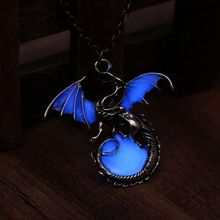 2018 Retro Dragon Glow in the Dark necklace Silver Chain Jewelry Ancient Dragon Pendants & Necklaces Mens Punk Dragon Necklace(China)