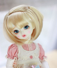 BJD wigs soft gold short hair wigs Imitation mohair available for 1/6 1/4 1/3 BJD MDD doll accessories(China)