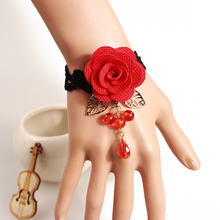 Red Bracelet For Women Big Flower Designer Fashion Jewelry Hand Wristband Lace Bangles & Bracelets Cheap Vintage Jewellery Sale