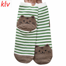 KLV Fashion Cartoon Socks Women Cat Footprints 3D Animals Style Striped Warm Cotton Socks Lady Floor meias Socks for Female(China)