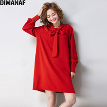 DIMANAF 2017 European Women Dress Autumn Office Lady Chiffon Solid Female Casual Fashion Bow Tie Show Thin Long Sleeve Dresses(China)