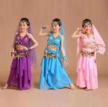 Hot 2017 Belly Dance Children Indian Costume Set 5PCS Bollywood Dance Costumes Girls Stage performance Dress Performance clothes