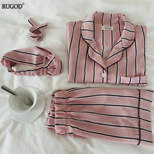 RUGOD Summer 2017 New Fashion Women Pajamas Turn-down Collar Sleepwear 2 Two Piece Set Shirt+Shorts Striped Casual Pajama Set(China)