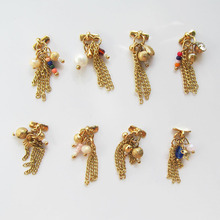 Japanese Nail Art Designs Tassel New Popular Alloy Gold Nail Jewelry Lot Epacket 30pcs SS35 to SS42