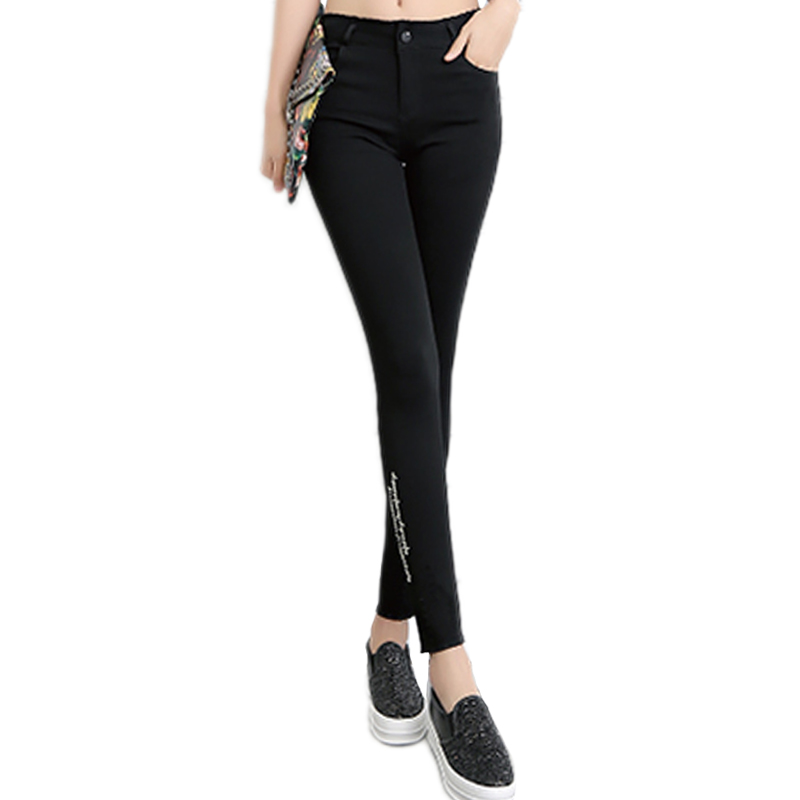 2017 Cotton High Elastic Jeans Woman Knee Skinny Pencil Pants Slim Ripped Jeans For Women Black Ripped Jeans XXLОдежда и ак�е��уары<br><br><br>Aliexpress
