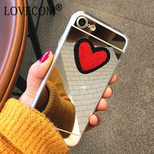 DIY Stitches Love Heart Silver Mirror Soft TPU Phone Back Cover Case For iPhone 4 4S 5 5S SE 6 6S 7 Plus New Coque Best Gifts(China)