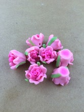New Fashion! 100pcs/lot Good Quality 15mm Hot Pink Rose Shaped Polymer Clay Beads Flower Fit Jewelry Making DIY