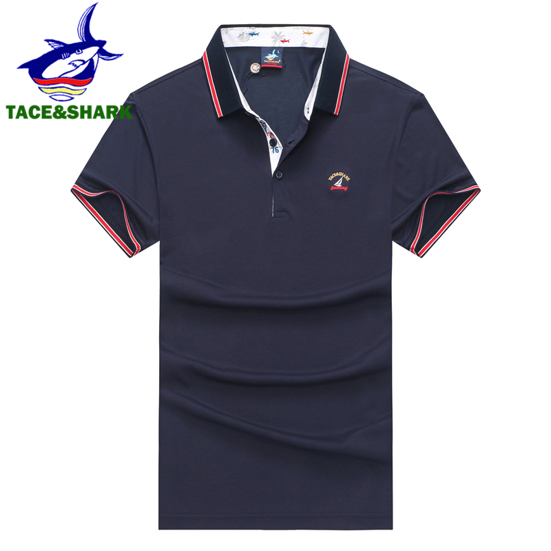 TACE&SHARK High Quality Polo Shirt Men Casual & Business Men Polo Brand Polo Shirt Homme 3D Embroidery Summer 2019 Men Clothes