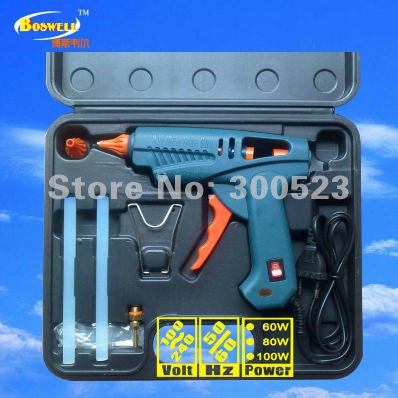 5 pcs/set, free shipping, tool kit: USA plug With power switch 100 watt hot melt glue gun<br>