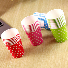 50pcs/Pack Party Paper Cup Disposable Cup Color Dot Wave Point Manual Small Paper Cups Party Accessories Hand Fan(China)