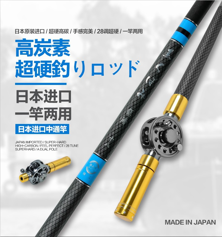 hollow rod and Taiwan fishing rod double use inside the pass line fishing rod carp rod superhard carbon with metal reel<br><br>Aliexpress