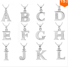 SALE CYPRIS silver necklace English Letter Capital Crystal Stone Pendant Necklace cz stone shine 18inch collares 925  joyas