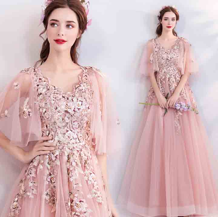 2019 New Large Size XS-3XL Handmade Heavy Beaded Embroidery Deluxe Party Dresses Pink Dress Red Carpet Ball Gown For Women