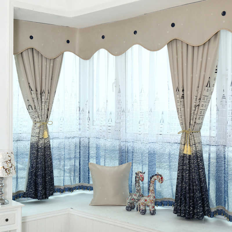 Ready curtain and tulle set ,blackout cloth with rings or hooks ,free trim for different lenght ,3pieces/lot ,100%light shading