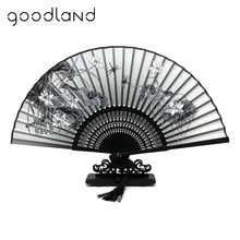 Free Shipping 1pcs 100% Bamboo Folding Silk Hand Fan Flower Wedding Favor Fan Home Decoration Accessories Gifts For Women Girls