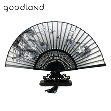Free Shipping 1pcs 100% Bamboo Folding Silk Hand Fan Flower Wedding Favor Fan Home Decoration Accessories Gifts For Women Girls(China)