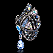 Unique Turkey Designs Personalized Decorative Luxury Rhinestone Brooch Butterfly Purple Retro Brooches Wholesale Jewelry Gift
