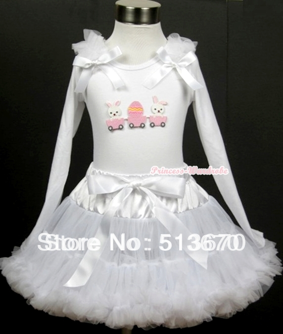 White Pettiskirt with Bunny Rabbit Egg Print White Long Sleeve Top with White Ruffles &amp; White Bow MAMW197<br>