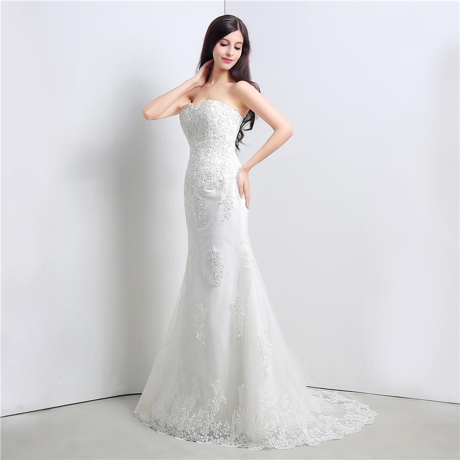 In Stock White/Ivory Applique Lace With Beading Wedding Dress Bandage Dropped Bridal Dress Robe De Mariage Vestido De Noiva 3