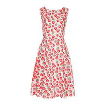 2017 Women Red  Strawberry Print  Sleeveless  Vintage Dress July 14  Elegant Nobility