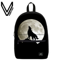VEEVANV Brand 2017 Wolf Image Book Backpacks 3D Prints Package for Teenagers School Shoulder Bags Wolf Canvas Student Bookpacks