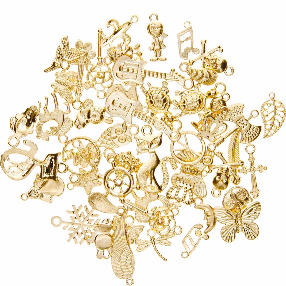 120pcs Mixed 3 Styles Tibetan Silver Bronze Gold Glue on Bail Tag for Jewelry Making Crafting 15X5MM