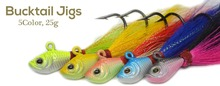 5 Piece  27g Big game fishing lures 3d Eyes Bucktail jig for Saltwater Fishing Lure  multi-color Free Shipping