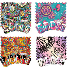 STZ 1 Sheets Hot Designs Retro Colorful Artistical Printing Full Wraps Nail Art Sticker Water Transfer Manicure BLE2535-2538