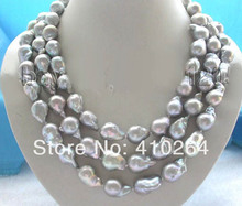 $wholesale_jewelry_wig$ free shipping  3rows Genuine Natural 20mm Gray Reborn Keshi Pearl Necklace 925silver mabe pearl clasp