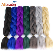 "AliLeader Synthetic Kanekalon Jumbo Braid Hair For Braiding 24"" 100G Ombre Blonde Grey Blue Green Pink Braiding Hair Extensions"