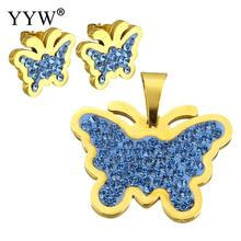 Rhinestone Jewelry Sets pendant & earring Stainless Steel with Rhinestone Clay Pave Butterfly gold color plated Sold By Set
