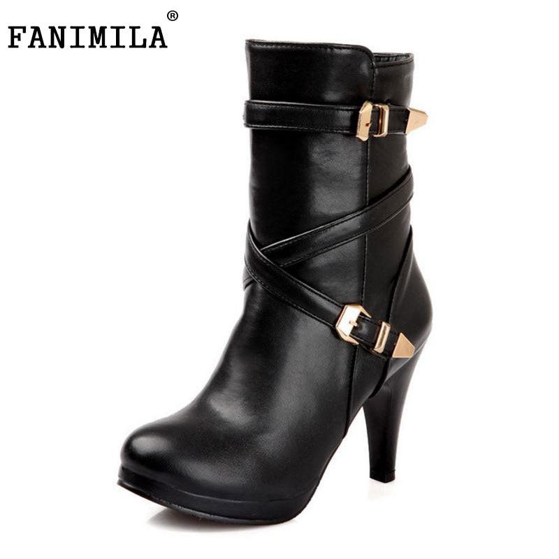 FANIMILA Free shipping ankle half short boots women snow fashion winter warm boot footwear high heel shoes P14720 EUR size 32-48<br>