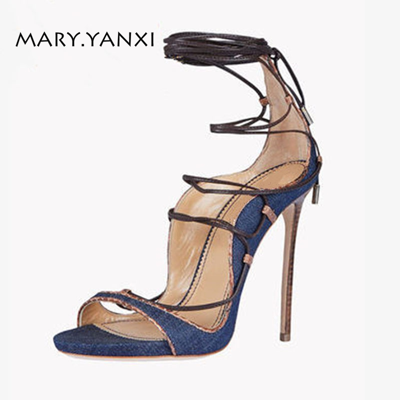 Summer Women Big Size Shose Gladiator Sandals Denim Fashion Sexy Party Thin High Cover Heels Stilettos Solid Lace-Up Cross-tied<br>