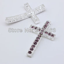 50pcs Lt. Amethyst Rhinestone Silver Plated Curved Sideways Crosses Connector Beads For Bracelet ,DIY Jewelry Findings 23x39mm(China)
